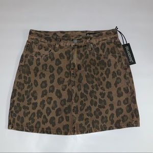 Blank NYC Cheetah Print Denim Skirt